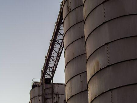 Old metal silos Banco de Imagens