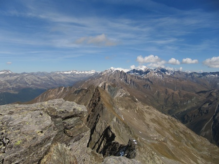 sudtirol: A fantastic view on the sudtirol alps from the summit of the Hirbernock  3010m  Stock Photo