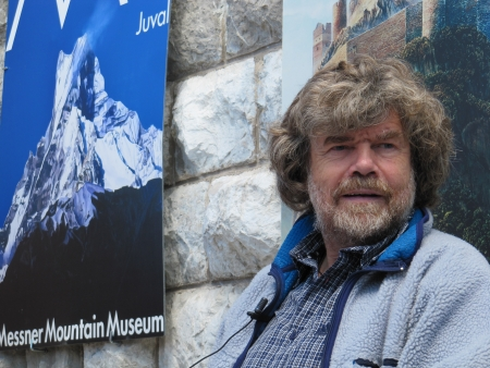 rite: Cadore, ITALY - June 06, 2010 - Mountaineer Reinhold Messner speaks during the seasonal opening of the Messner Mountain Museum at the top of Mt. Rite (Dolomites area) Editorial