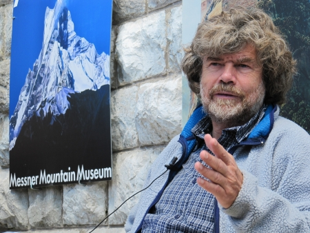 Cadore, ITALY - June 06, 2010 - Mountaineer Reinhold Messner speaks during the seasonal opening of the