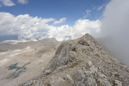 martino: View on Pale di S Martino group from the top of mount Fradusta - 2939m - Dolomites - Italy  Stock Photo