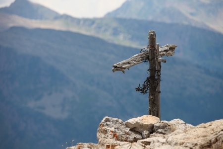 War cross in Dolomites photo