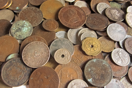 old coins: old coins from different countries Stock Photo