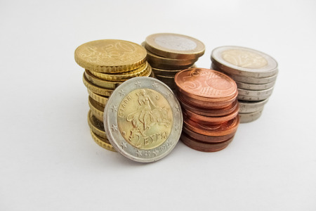 greek coins: Stack of Greek Euro coins