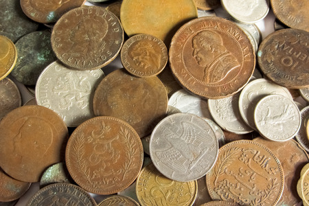 oude munten: old coins from different countries Stockfoto