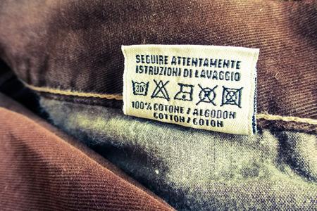 instruct: washing instructions label Stock Photo