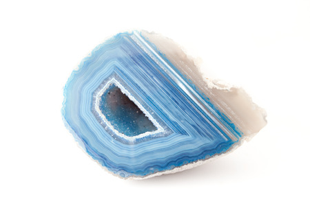geode: Section of a white and blue geode