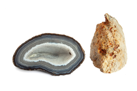 geode: Section and external view of a white and blue geode