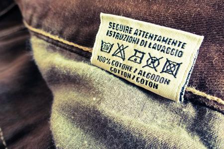 instrucciones: instrucciones de lavado etiqueta Foto de archivo