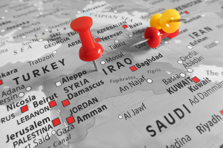middle east war: Red marker over Iraq