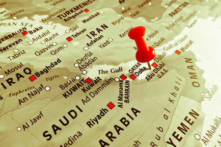 iraq money: Red marker over Abu Dhabi
