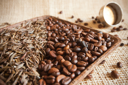 dried tea leaves and roasted coffee beans: theine vs caffeine