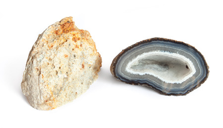 Section of a white and blue geode