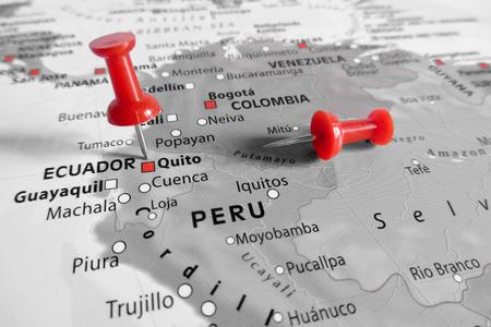 Red marker over Equador