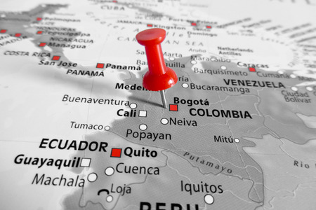 Red marker over Colombia photo