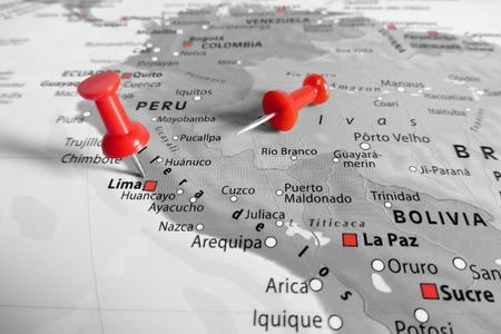 Red marker over Peru Standard-Bild