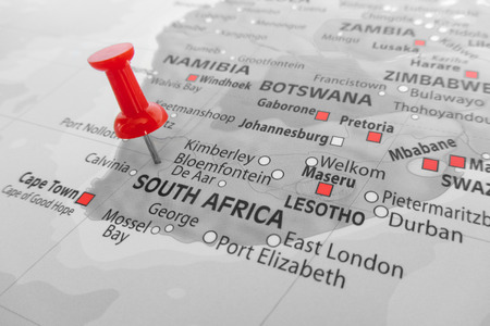 mapa de africa: Marcador rojo sobre Sudáfrica