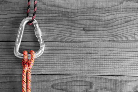 rope background: Mountain gear for climbing: Clove Hitch knot Stock Photo