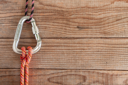 hitch: Mountain gear for climbing: Clove Hitch knot Stock Photo
