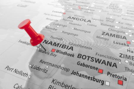 Red marker over Namibia Standard-Bild