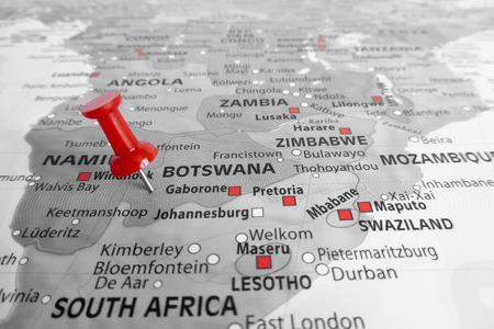 botswana: Red marker over Botswana