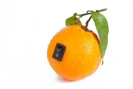 bioengineering: Single orange with power switch in off position Stock Photo