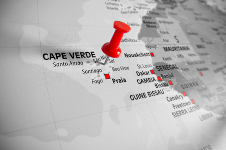 cape verde: Red marker over Cape Verde Island