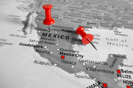 red america: Red marker over Mexico