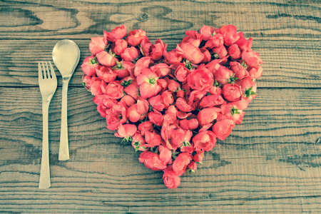 shyness: Eating in love, denim vintage effect Stock Photo