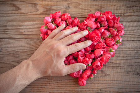possession: Heart made of red roses in wooden background, covered by an hand to represent personal feelings Stock Photo