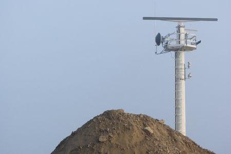 radar: radar antenna in construction site Stock Photo