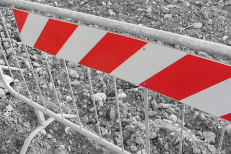 delimitation: barrier inside a construction site, black and whte effect