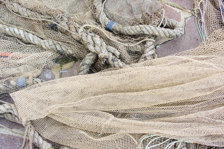 floaters: Used fishing net with floaters Stock Photo