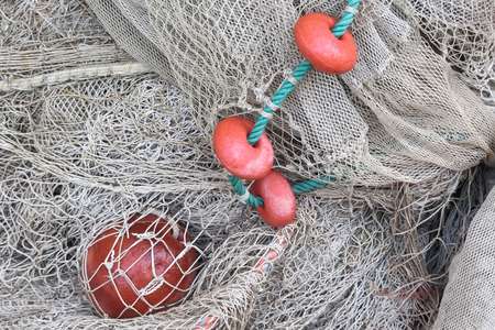 fishing net: Used fishing net with floaters Stock Photo