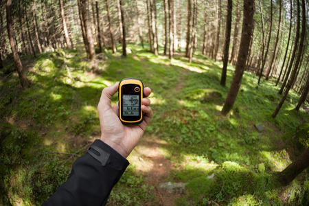 finding the right position in the forest via gps Banco de Imagens - 50956306
