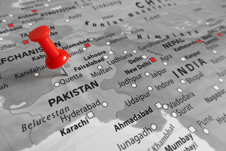 middle east conflict: Red marker over a free altered map of Pakistan