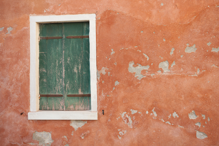 dated: View of a dated balcony from Burano island, Venice Stock Photo