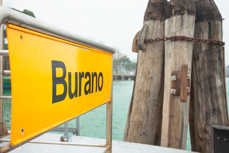 waterbus: Burano signboard on waterbus stop