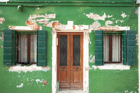 burano: Detail of a traditional house in Burano island, Venice