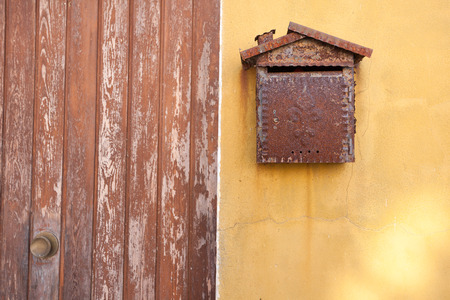 burano: detail from an old mailbox in Burano island, Venice Stock Photo