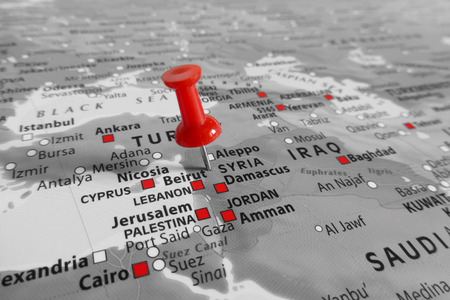 middle east conflict: Red marker over Syria
