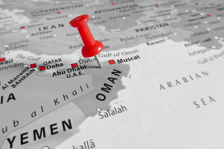 oman: Red marker over Oman