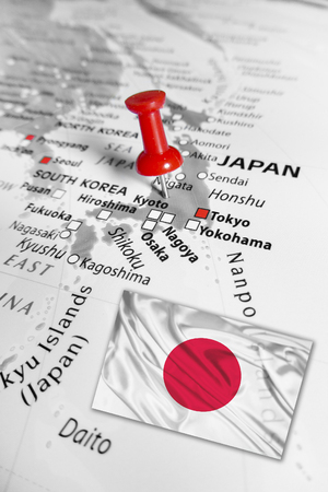 traceability: Red marker over Japan Stock Photo