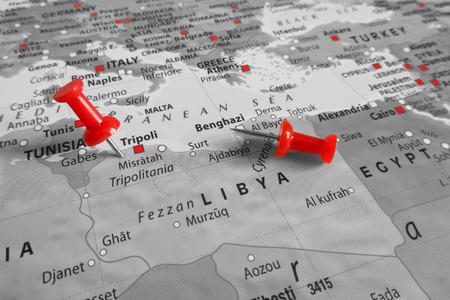 Red marker over Libya