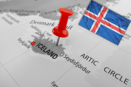 artic circle: Red marker over Iceland Stock Photo
