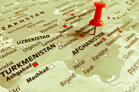 middle east conflict: Red marker over Afghanistan