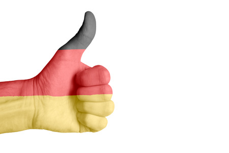 German flag on human hand