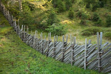 maleza: Valla en el interior de un bosque típico de los Alpes italianos Foto de archivo