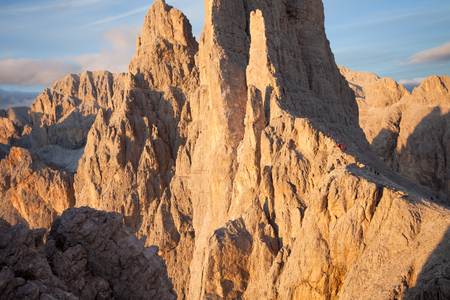 vajolet: Sunset over the Vajolet towers in Dolomites Stock Photo