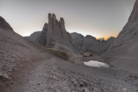vajolet: Sunrise over the Vajolet towers in Dolomites